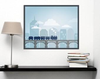 16 X 20 Instant Download TRAIN and Bridge Art Print Digital Download Printable
