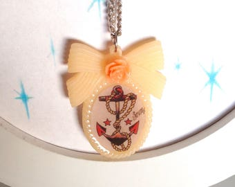 Sailor jerry old school tattoo anchor cameo pendant