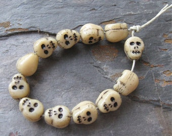 Beige Czech Glass Skull Beads w/ Black Impressed Features Opaque 11mm New (12)