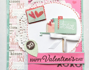 Happy Valentine's Day Greeting Card - Mail Box Handmade Paper Card with Coordinating Hand Stamped Embellished Envelope
