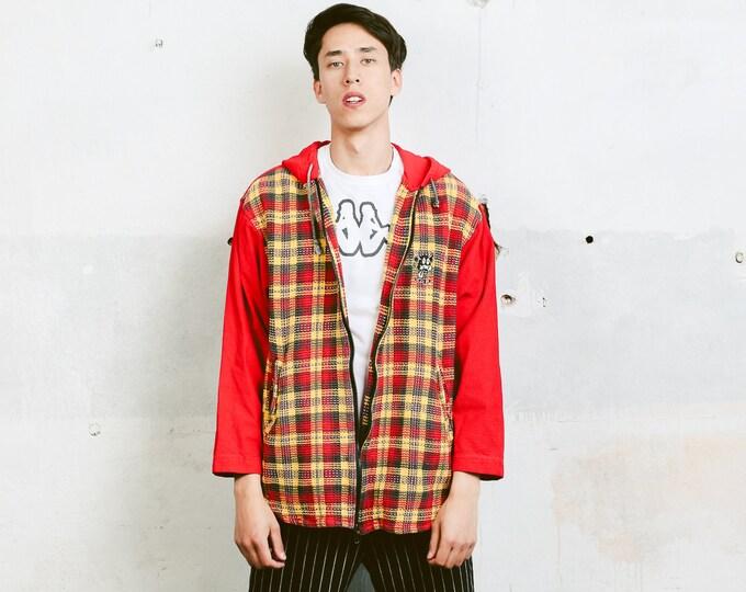 Vintage Zip Up Hoodie . Bold Men's Chunky Knit Cotton Sweatshirt Longline Hooded Sweater Unisex Sweater Boyfriend Gift . size Large L