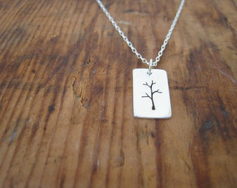 the littlest tree necklace, sterling silver, reversible.