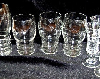 Vintage Lot of Crystal Glasses - Etching in Thistle Pattern - Variety of Sizes