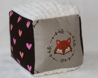 Small Woodland Foxes and Hearts Chenille Block Rattle Toy