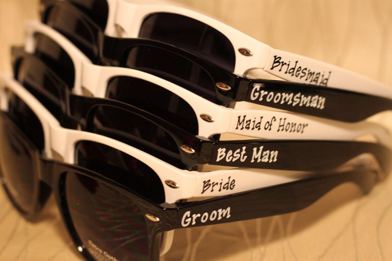 Set Of Wedding Favor Personalized Black White Combo Sunglasses