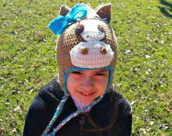 Custom Horse hat, horse hat, bow horse hat, short hair horse hat, earflap horse hat, earflap hat, unique hat, crochet hat, earflap beanie