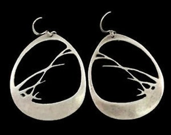 Vintage d stewart Bulrushes silhouette Sterling Silver 925 Earrings 5.g