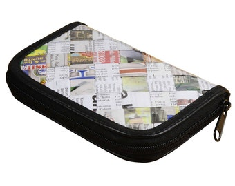 Small zip wallet newspaper, FREE SHIPPING, gift for her , vegan wallet, Magazine wallet, Credit Card Wallet, zipper wallet, Gift for mom