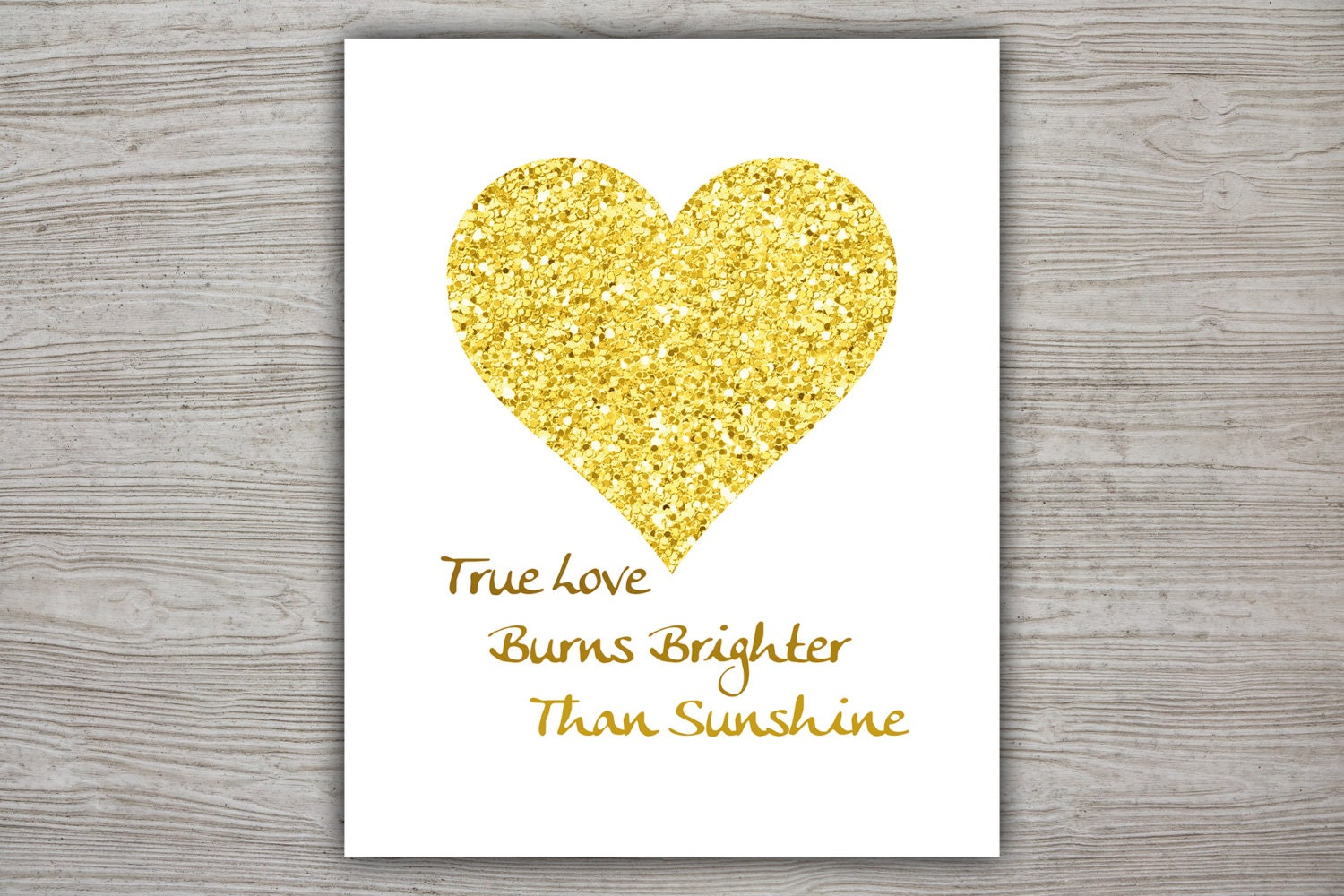 Yellow Heart Printable Poster Printable Quote Poster Glitter