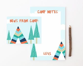 Camp Postcards for Boys Summer Camp Notepad Set Camp Note Cards Letters From Camp Boys Stationery Boy Teepee Tent Personalized Stationary
