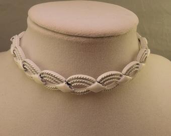 Signed Monet White Enamel Necklace 1960-70s