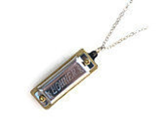 Unisex NECKLACE Harmonica. PLAYS. Blues Jazz Rock n Roll, ball silver chain, Plays 4 Notes