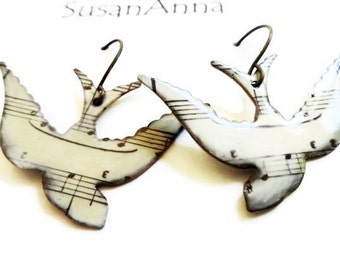 Personalized Graduation |Statement Jewelry |Unique Large Song Bird Earrings |Music Gift for Graduation|Music Gift Guitar |Music Student Gift