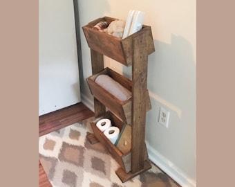 Wood shelf, standing bathroom shelf, farmhouse decor, home organization, rustic ladder shelf, bathroom storage, planter box shelf