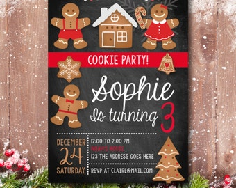 Christmas Birthday party, Christmas Birthday Invitation, Christmas Party Invite, Christmas Invitation, Cookie Party, Christmas cookie
