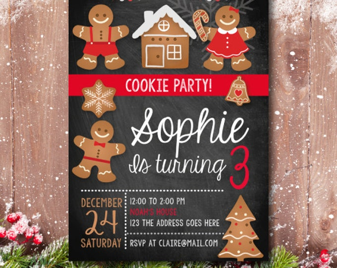 Christmas Birthday party, Christmas Birthday Invitation, Christmas Party Invite, Christmas Invitation, Cookie Party, Christmas cookie