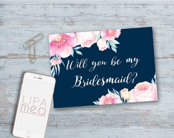 Bridesmaid Card, Bridesmaid Proposal Card Printable, Will you be my Bridesmaid, Maid of Honor, Boho Floral Bridesmaid Cards, Pink & Navy