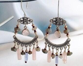 Gypsy earrings, Boho earrings, Unique jewelry, Moroccan earrings, Tribal earrings, Festival jewelry earrings, Silver stone jewelry Boho chic