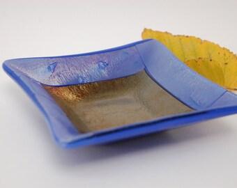 Iridescent Fused Glass Trinket Dish