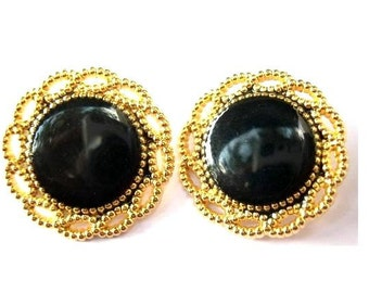 2 Vintage metal buttons flower shape gold color  with black center, beautiful for button jewelry, 26mm