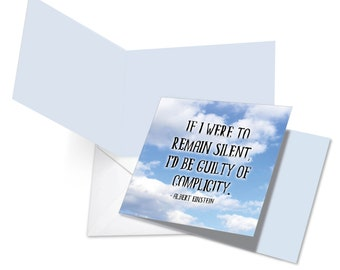 CQ4185JOCB New Humorous Square-Top All Occasions Card: Artful Activism Quotes Einstein w/ Env.