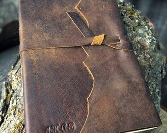 AUTHENTIC LEATHER JOURNAL Brindle Brown Rustic Winged Hand Torn Personalized Leather Journal Sketchbook Notebook Travel Gift Journal