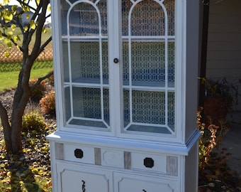 Small Sweet Vintage White China Cabinet Linen Storage. White Glazed Slighly  Distressed Piece