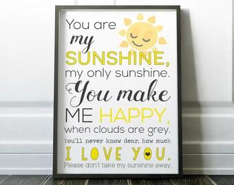 You Are My Sunshine Print, Wall Art Prints, Quote Print, Wall Art, Minimalist Poster, Minimalist Print, Modern Art, Art Prints, Posters, Art