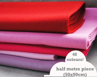 """100% wool felt by the half meter - 50x90cm (approx 20x36"""") - lots of colours!"""