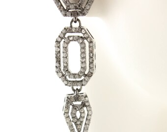 Pave Diamond Earrings, Pave Diamond Art Deco Edwardian Earrings, Pave Diamond, Edwardian Earrings, Diamond Earrings (DER-112)
