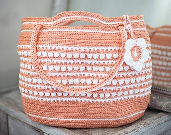 Picnic Orange Tote Large Bag Plarn Crochet Ecofriendly Handbag from Upcycled Plastic Bags OOAK Summer Beachbag Plarn Bag