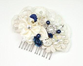 Blue Bridal Hair Comb- Sapphire Hair Piece- Cobalt blue comb- Wedding Hair Accessories- Fascinator-Bridal Hair Accessories-Blue wedding Comb