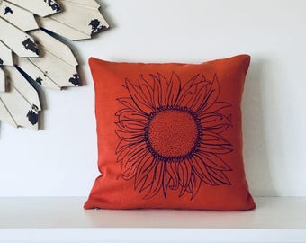 Pillow Cover Cushion Cover - Sunflower - 12 x 12 inches - Choose your fabric and ink color - Accent Pillow