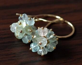 Real Aquamarine Earrings, Gold Filled, Pastel Gemstone Clusters, Bridal, Bridesmaid, Aqua Blue Jewelry, Free Shipping