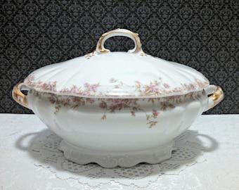 Antique Soup Tureen, Charles Field Haviland CFH GDM, Limoges Porcelain, Oval Covered Soup Serving Bowl, Pink Floral Pattern, Circa 1890s