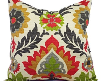 Two Outdoor Pillow Covers - Green Red and Cream Pillows - Patio Pillows - Couch Pillow Cushion Cover Accent Pillow 12x16 12x18 14x14 16x16
