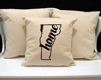 Vermont Home Pillow, Vermont Pillow, home pillow, pillow gift, Vermont gift, Envelope Pillow Cover, state pillow, VT pillow, 20x20 pillow