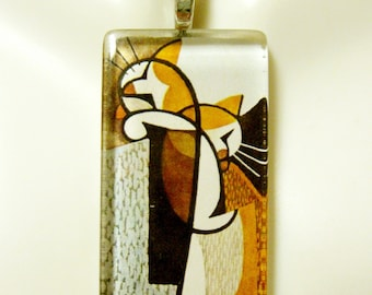 Cubist cat pendant and chain - CGP02-168