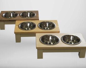 medium dog, double bowl dog table, raised dog bowl, dog bowls, wooden dog bowls, raised pet feeder