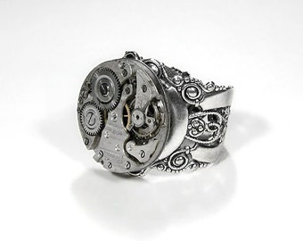 Steampunk Jewelry Ring, Steam Punk Mens Ring Vintage Watch Ring, Featured WIRED, BOING BOiNG, GiZmodo AWESOME Steampunk Ring - by edmdesigns