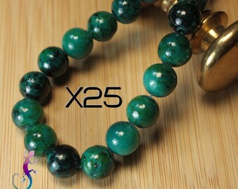25 beads 8mm Green chrysocolla PF1