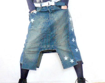Denim-jeans recycled skirt in print star.Hippie boho.One of a kind.