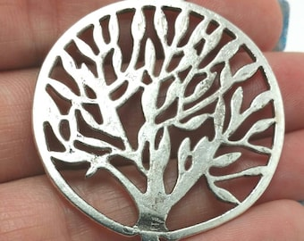 2 Tree of Life Charms, Silver Tree Charms, Plant Charms (1-1054)