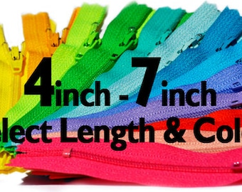 Wholesale Ykk Craft Zippers-4 inch to 7 inch YKK Zippers Nylon Coil Skirt  Closed Bottom - Each Color Ten Zippers -Select Length and Color