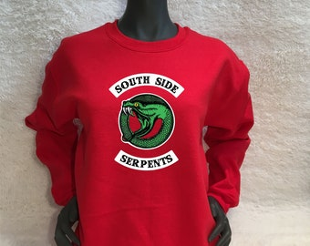 Cheryl Blossom Bright Red South Side Serpents Sweatshirt / Riverdale / Archie Comics / Jacket / Jughead Sweater / TShirt