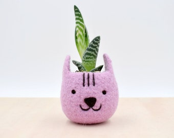 Neko Atsume planter special edition / Felt succulent planter / Cat  / Valentine day gift / gift for her