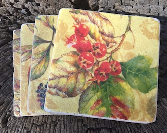 Coaster Set-flower Coaster Set-Travertine tiles-Housewarming gift- flower Coaster set-Farmhouse Decor-Wedding gift- flower coaster set