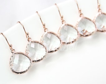 5%OFF, Bridesmaid gifts, Set of 4,5,6, Rose gold clear earrings, Rose gold wedding maid of honor earrings, Wedding bridal rose gold earrings