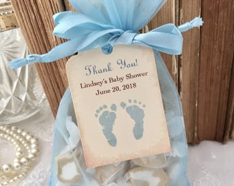 Baby shower favor etsy baby shower favor set organza bags and personalized tags blue boy footprints set of 10 negle Gallery