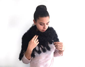 Knitted Shawl, Grandma Mothers Day, Eyelash Shawl, Mothers Day From Son, Fast Delivery, Fringed Scarf, Mother In Law Gift, Grandma Scarf